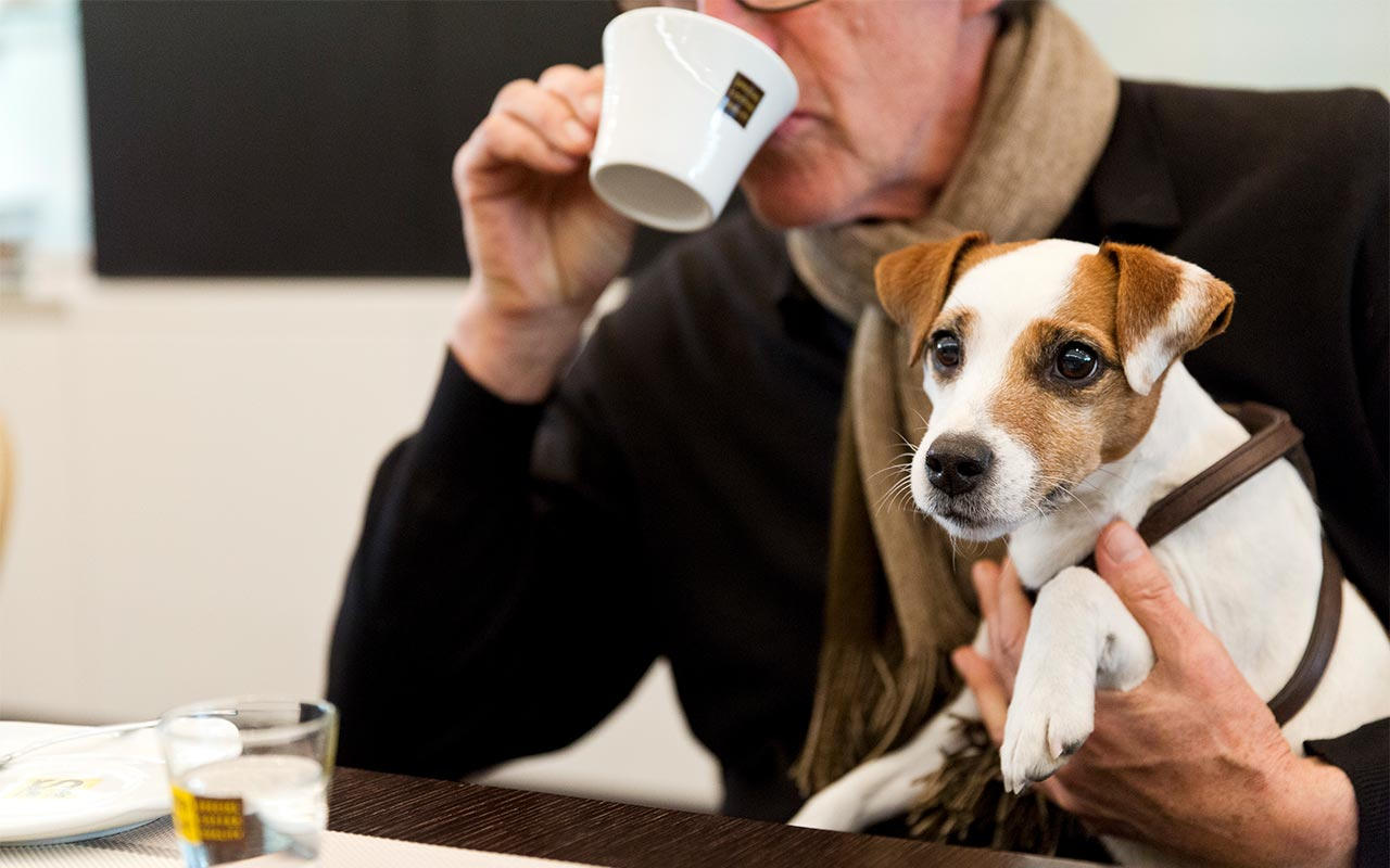 Elderly gentleman sipping a coffee holding a jack russell