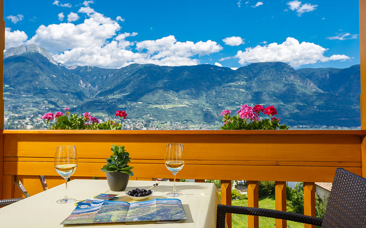View of Merano and the surrounding mountains from the terrace of Hotel Kristall