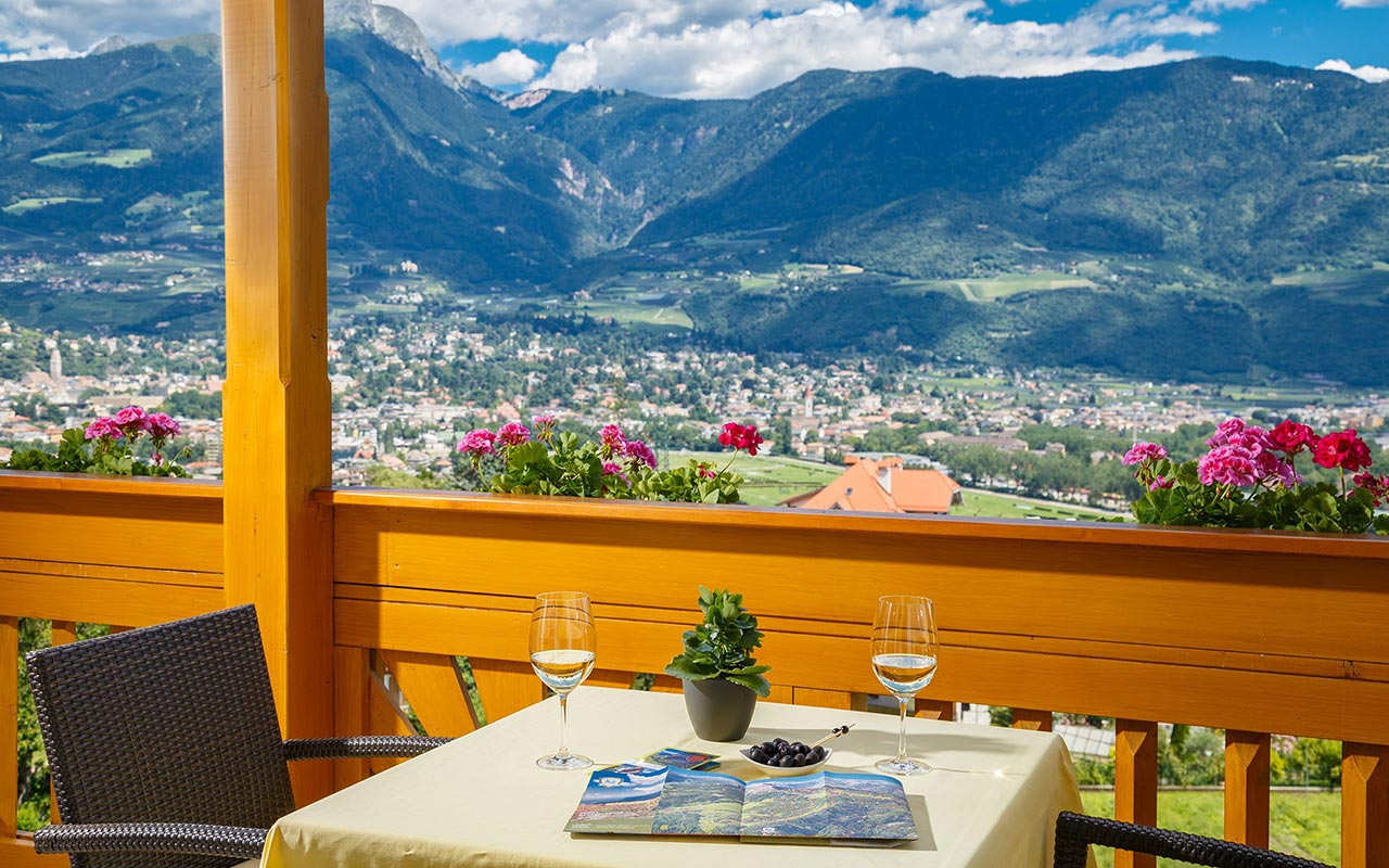View of Merano from the balcony of Hotel Kristall
